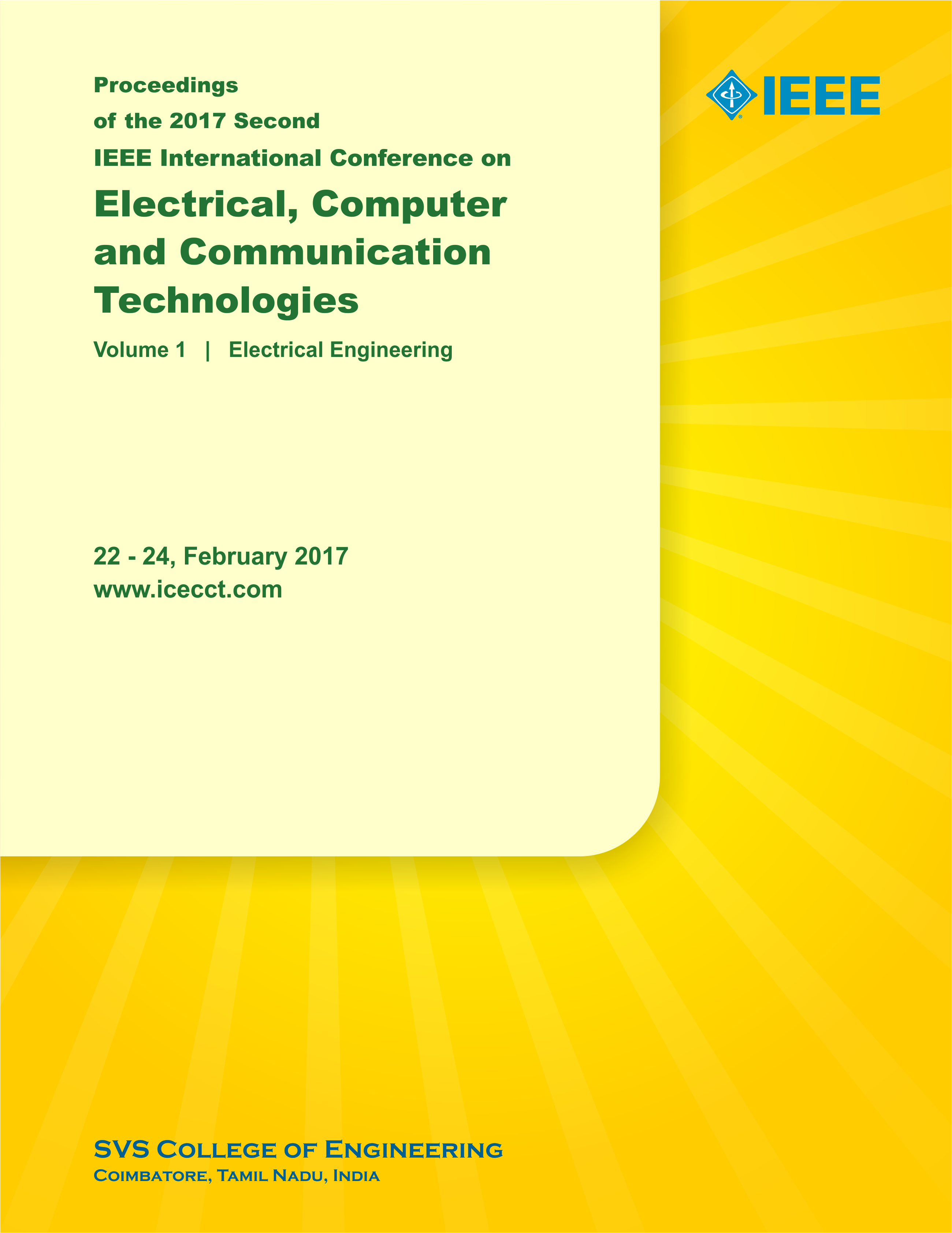 Ieee Icecct 2019 Coimbatore India Electricity And Electronics Engineering Technology Electronic Symbols The 2017 Second International Conference On Electrical Computer Communication Technologies Held At Tamil Nadu